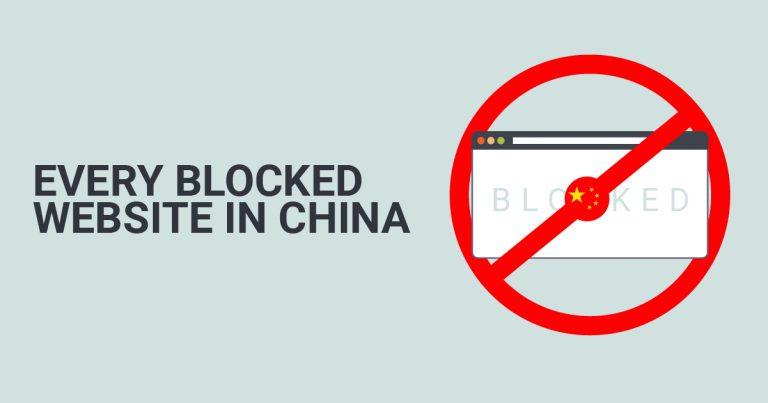 중국에서 차단된 웹 사이트